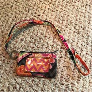 Vera Bradley floral lanyard and Id wallet set